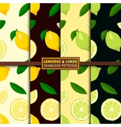 Seamless patterns with lemons and limes vector