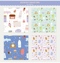 Set of cute seamless food patterns vector image