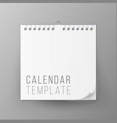 Spiral calendar blank office calendar mock vector