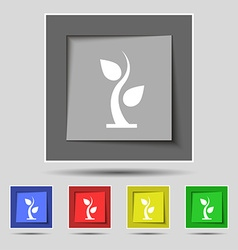Sprout icon sign on original five colored buttons vector