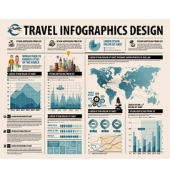 Travel set elements of infographic vector