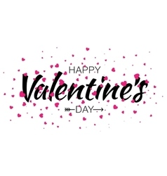Valentines day lettering card with pink hearts vector