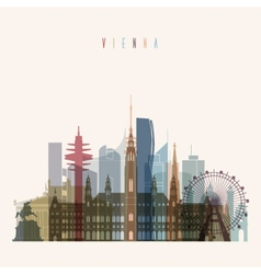 Vienna skyline silhouette vector