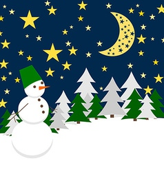 Winter Night Forest Landscape with Snowman Holiday vector image vector image