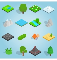 Landscape set icons isometric 3d style vector