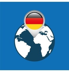 World map with pointer flag germany vector