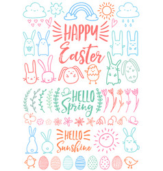 Happy easter set of doodles vector