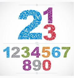 Set of ornate numbers flower-patterned vector