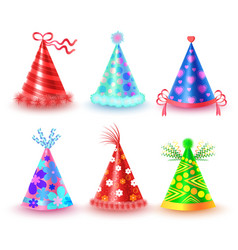 Decorated colorful party hats icons set vector