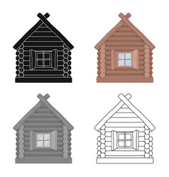 Wooden house icon in cartoon style isolated on vector