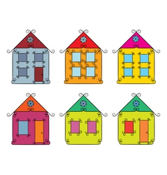set of vintage color houses vector image