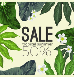 Tropical summer sale banner with flowers and vector