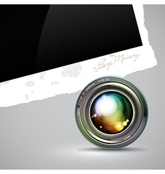 Camera lens with photography background vector
