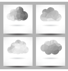 Set of backgrounds with triangular clouds vector