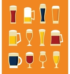 Big set of beer glasses and bottles vector