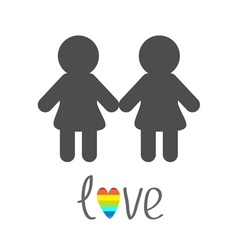 Gay marriage pride symbol two woman silhouette vector