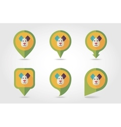 Dog mapping pins icons vector