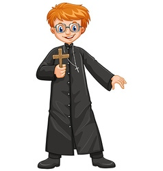 Christian priest holding cross vector
