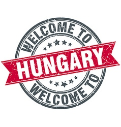 Welcome to hungary red round vintage stamp vector