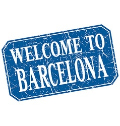 Welcome to barcelona blue square grunge stamp vector