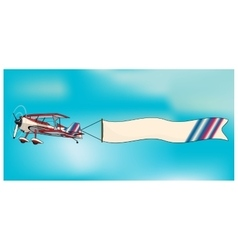 Biplane aircraft pulling advertisement banner vector image vector image