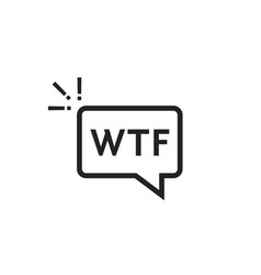 black outline wtf icon in speech bubble vector image vector image