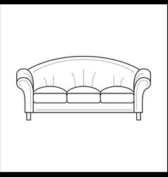blue vintage sofa antique couch vector image vector image