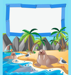 border template with sea animals on the beach vector image vector image