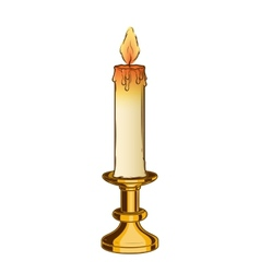 Burning old candle and vintage brass candlestick vector image