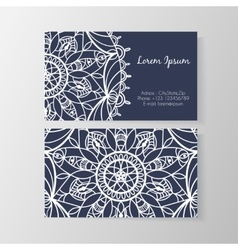 Business card with stylish modern floral pattern vector