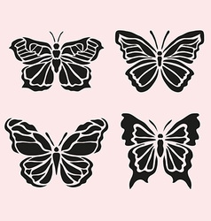 butterfly symbols set vector image vector image
