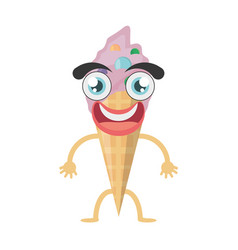 cartoon ice cream birthday vector image vector image