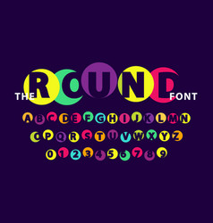 colorful round font on dark purple vector image
