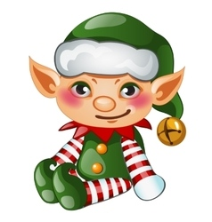 Cute boy elf in green costume isolated character vector