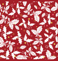 dark red holly berry holiday seamless vector image vector image