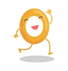 Donut running away isolated on white funny food vector