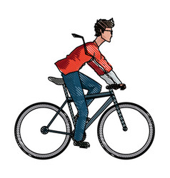 Drawing young man riding bicyle with suit and vector