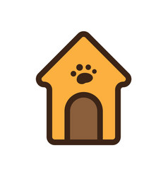flat color dog house icon vector image vector image