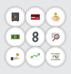 flat icon gain set of growth money box greenback vector image vector image