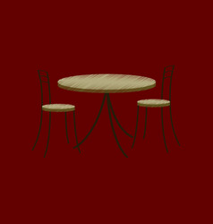 flat shading style icon chairs and table vector image