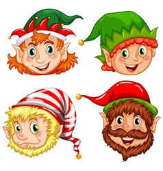 Four characters of Christmas elves vector image vector image