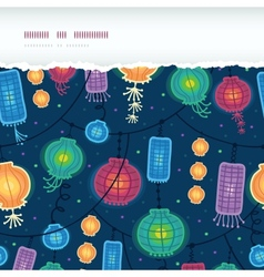 Glowing lanterns horizontal torn seamless pattern vector image