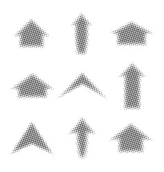 Gray arrows with halftone effect vector