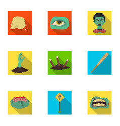 Ground zombie corpse and other web icon in flat vector