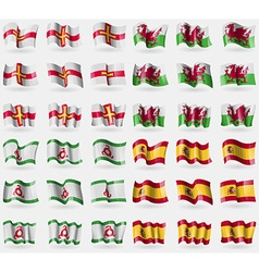 Guernsey wales ingushetia spain set of 36 flags of vector
