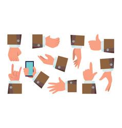 hands gestures set businessman hands vector image vector image