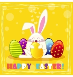 Happy ester rabbit and multicolored eggs vector