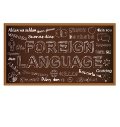 Hello in different languages chalk board doodle vector