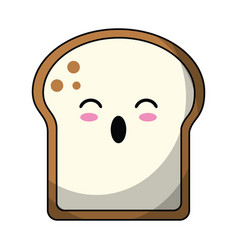 kawaii slice bread bakery vector image