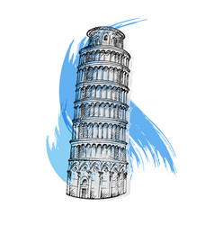 leaning tower of pisa italy vector image vector image
